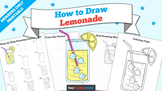 download a printable PDF of Lemonade drawing tutorial
