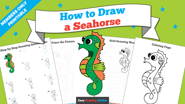 download a printable PDF of Seahorse drawing tutorial