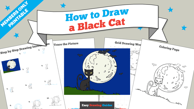 download a printable PDF of Black Cat drawing tutorial