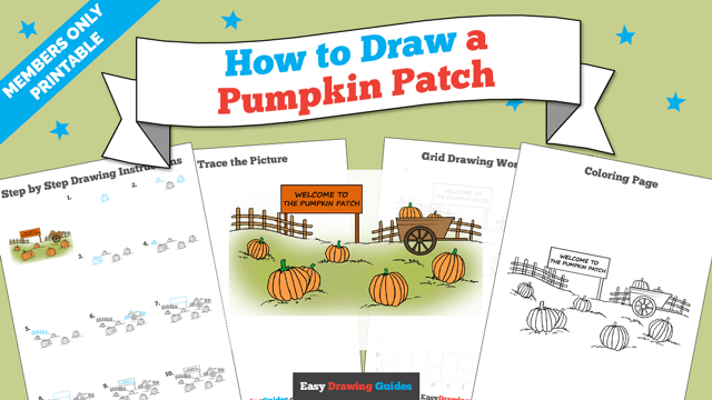 download a printable PDF of Pumpkin Patch drawing tutorial