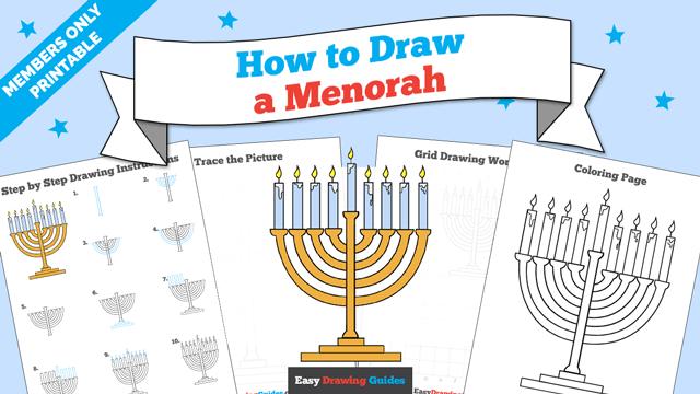 download a printable PDF of Menorah drawing tutorial