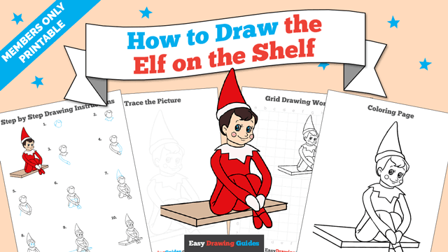 download a printable PDF of Elf on the Shelf drawing tutorial