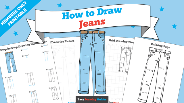 Printables thumbnail: How to draw Jeans