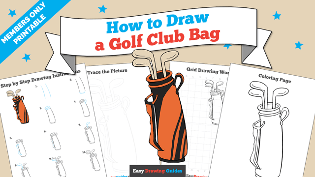download a printable PDF of Golf Club Bag drawing tutorial