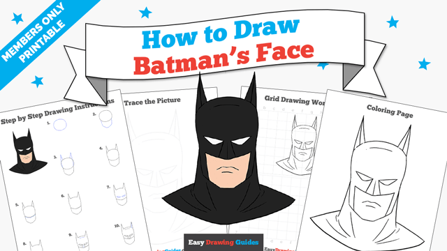 download a printable PDF of Batman's Face drawing tutorial