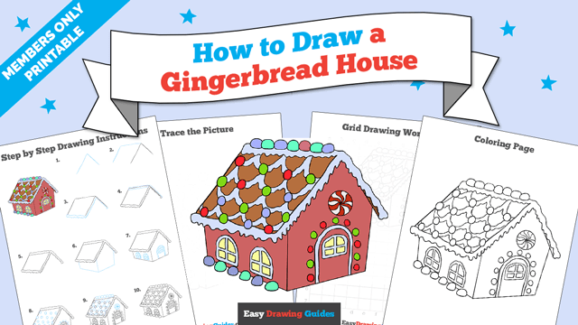 download a printable PDF of Gingerbread House drawing tutorial