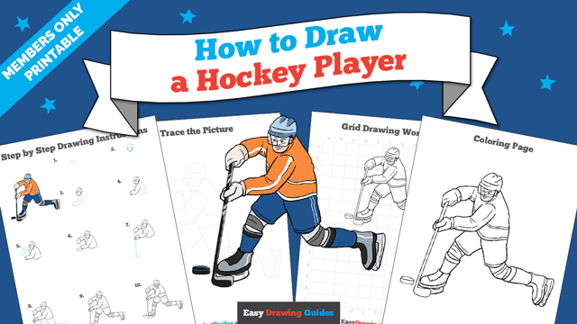 download a printable PDF of Hockey Player drawing tutorial