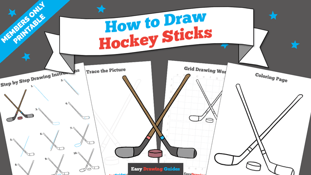 download a printable PDF of Hockey Sticks drawing tutorial