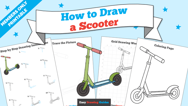 Printables thumbnail: How to draw a Scooter