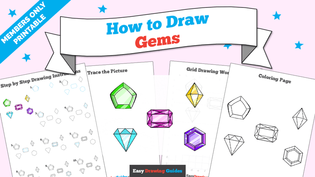download a printable PDF of Gems drawing tutorial