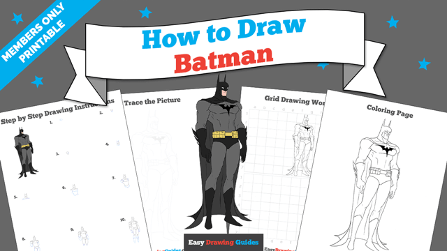 Printables thumbnail: How to draw Batman