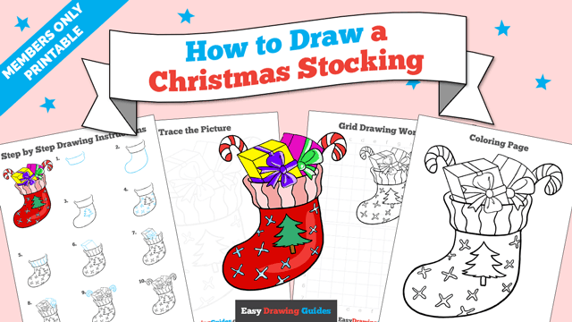 download a printable PDF of Christmas Stocking drawing tutorial