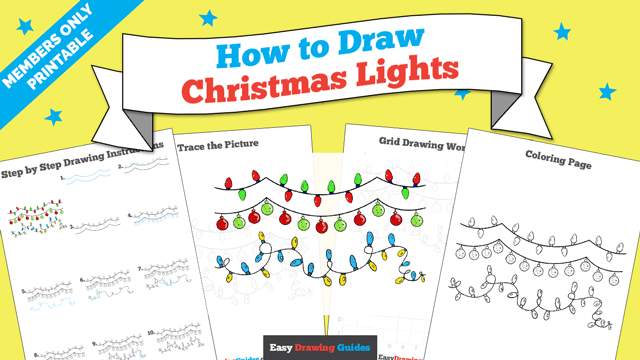 download a printable PDF of Christmas Lights drawing tutorial