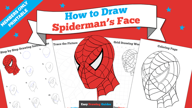 download a printable PDF of Spiderman's Face drawing tutorial