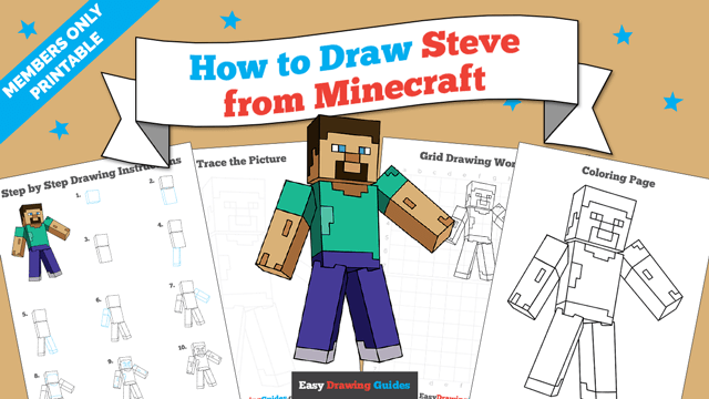 download a printable PDF of Steve from Minecraft drawing tutorial