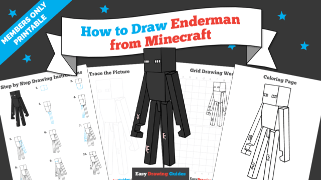 Printables thumbnail: How to draw Enderman from Minecraft