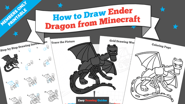 Printables thumbnail: How to draw Ender Dragon from Minecraft