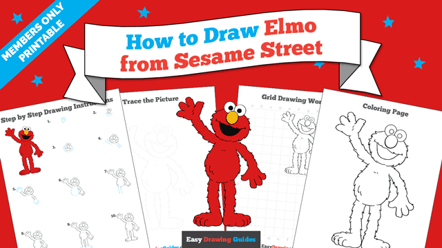 download a printable PDF of Elmo from Sesame Street drawing tutorial