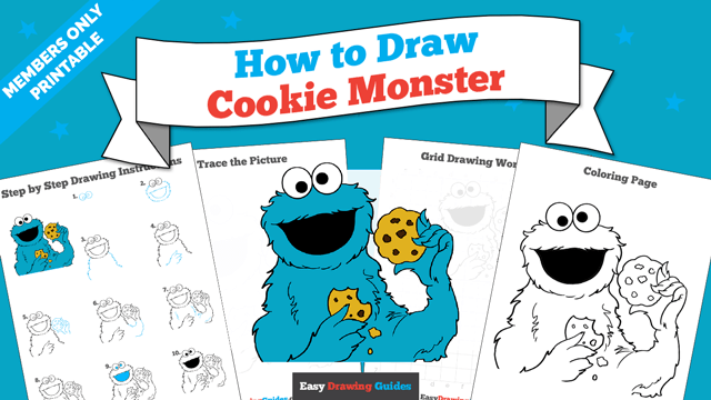 download a printable PDF of Cookie Monster from Sesame Street drawing tutorial