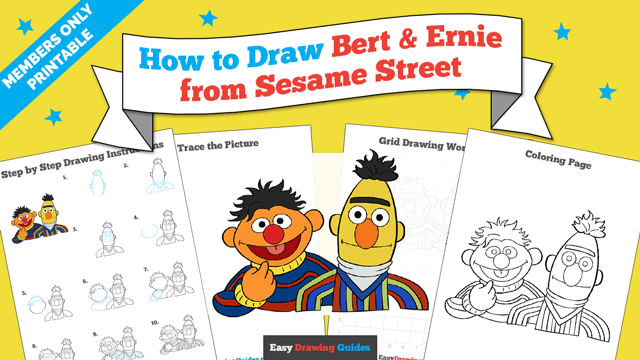 Printables thumbnail: How to draw Bert and Ernie from Sesame Street