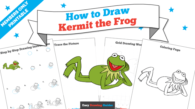 download a printable PDF of Kermit the Frog drawing tutorial