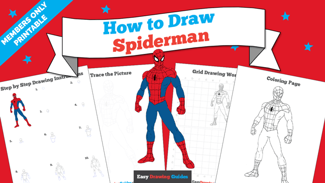 download a printable PDF of Spiderman drawing tutorial