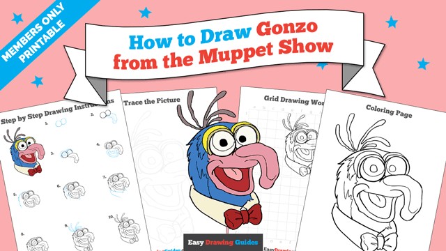 download a printable PDF of Gonzo from the Muppet Show drawing tutorial
