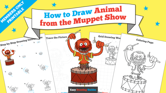 download a printable PDF of Animal from the Muppet Show drawing tutorial
