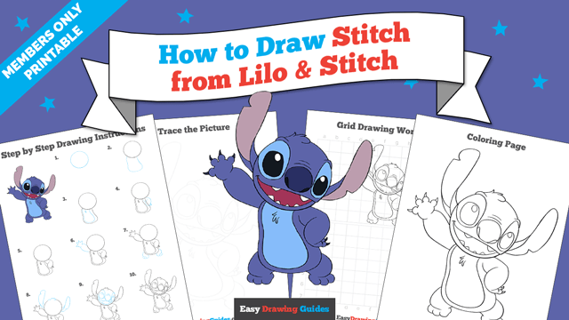 download a printable PDF of Stitch from Lilo and Stitch drawing tutorial