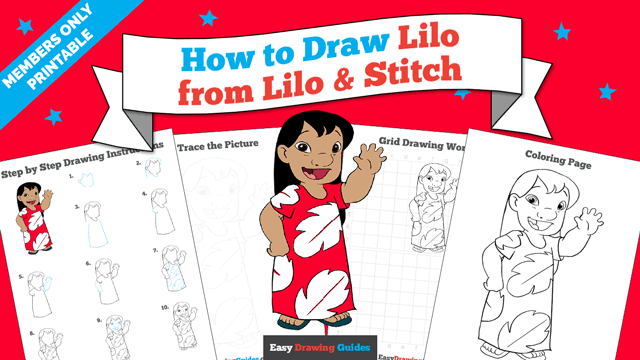 download a printable PDF of Lilo from Lilo and Stitch drawing tutorial