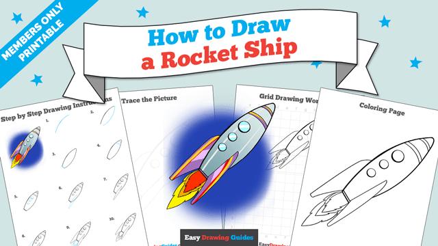 Printables thumbnail: How to draw a Rocket Ship