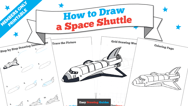 Printables thumbnail: How to draw a Space Shuttle