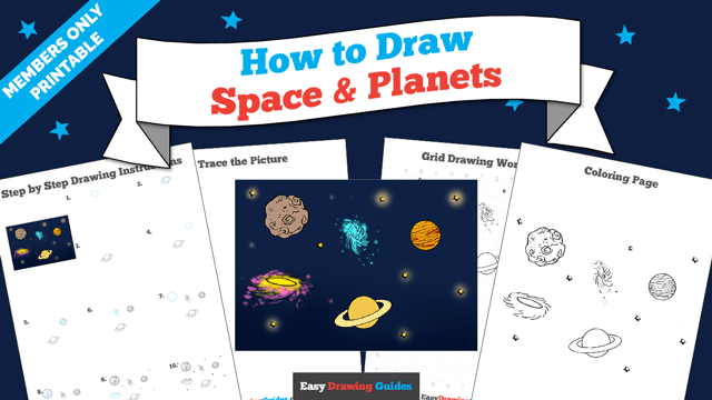 download a printable PDF of Space and Planets drawing tutorial