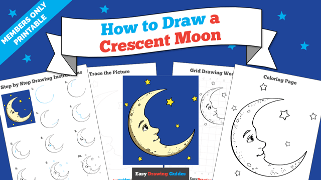 download a printable PDF of Crescent Moon drawing tutorial