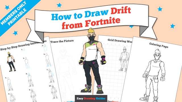 download a printable PDF of Drift from Fortnite drawing tutorial