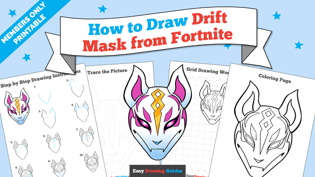 download a printable PDF of Drift Mask from Fortnite drawing tutorial