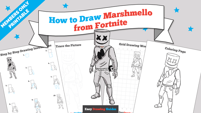 download a printable PDF of Marshmello from Fortnite drawing tutorial