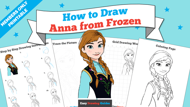 download a printable PDF of Anna from Frozen drawing tutorial