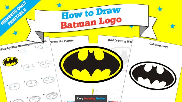 download a printable PDF of Batman Logo drawing tutorial