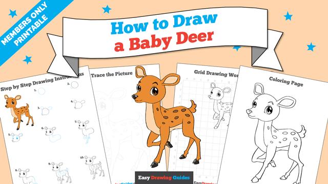 download a printable PDF of Baby Deer drawing tutorial
