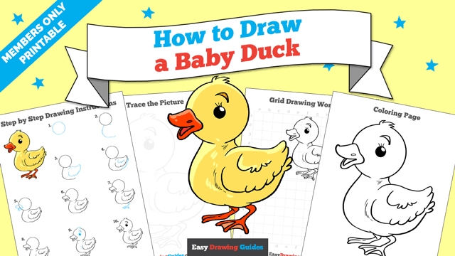 Printables thumbnail: How to draw a Baby Duck