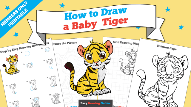 download a printable PDF of Baby Tiger drawing tutorial