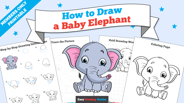 download a printable PDF of Baby Elephant drawing tutorial