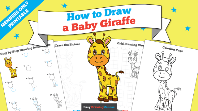 download a printable PDF of Baby Giraffe drawing tutorial
