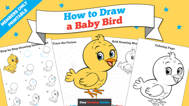 download a printable PDF of Baby Bird drawing tutorial