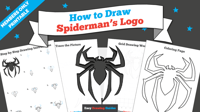 download a printable PDF of Spiderman Logo drawing tutorial
