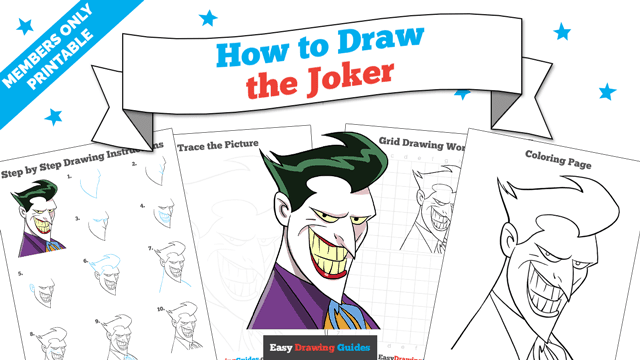 download a printable PDF of Joker drawing tutorial