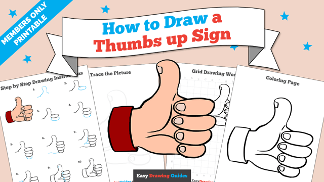 download a printable PDF of Thumbs up Sign drawing tutorial