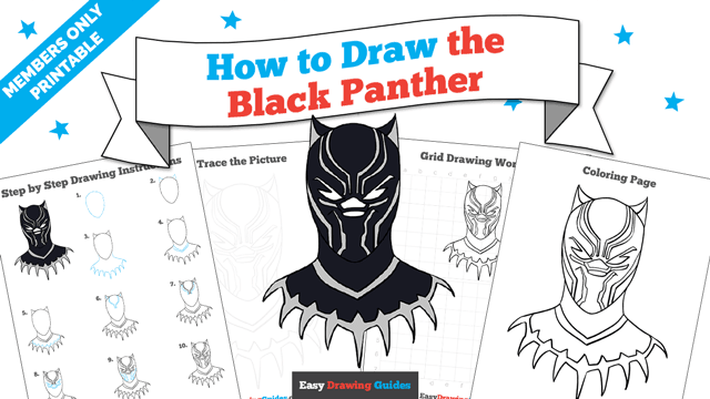 download a printable PDF of Black Panther drawing tutorial