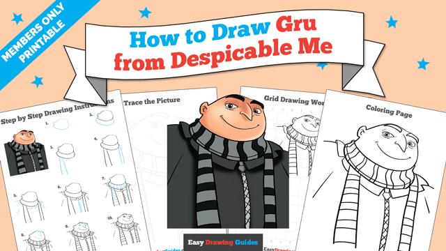 download a printable PDF of Gru drawing tutorial